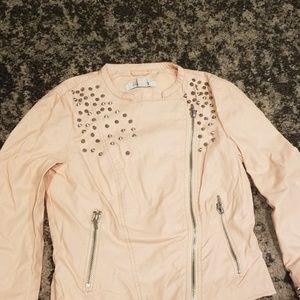 Pink pleather mototcycle jacket